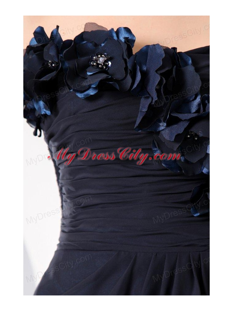 navy blue strapless hand made flowers prom dress for 2014