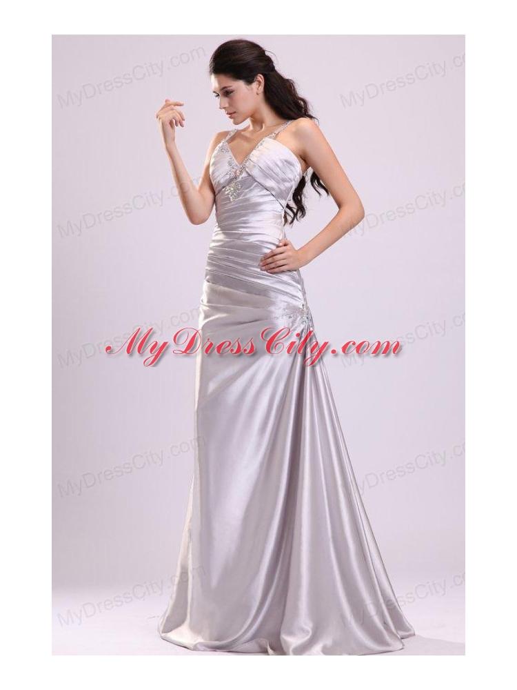 Column Straps Beading Ruching Satin Floor-length Gray Prom Dress ...
