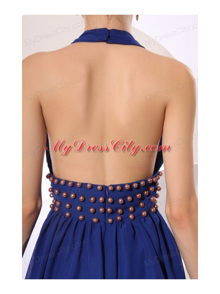 Royal Blue Halter Top Knee Length Prom Dress With Beading