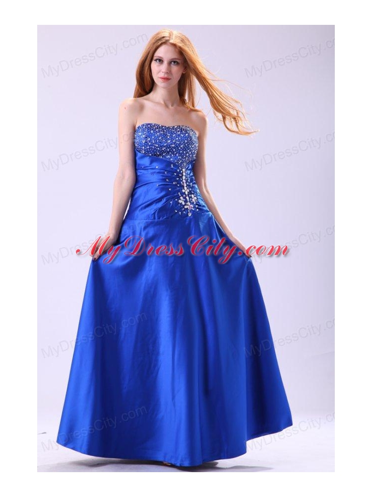 Royal Blue Prom Dress with Beading Empire Strapless - MyDressCity.com