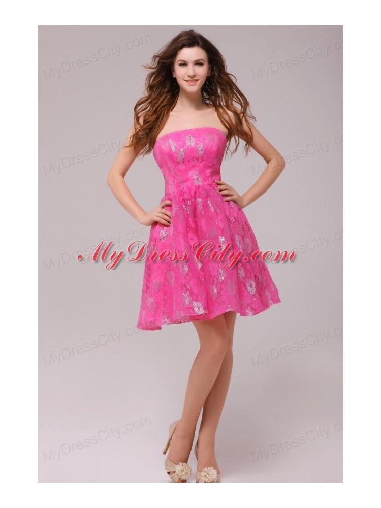 A-line Hot Pink Strapless Knee-length Prom Dress - MyDressCity.com