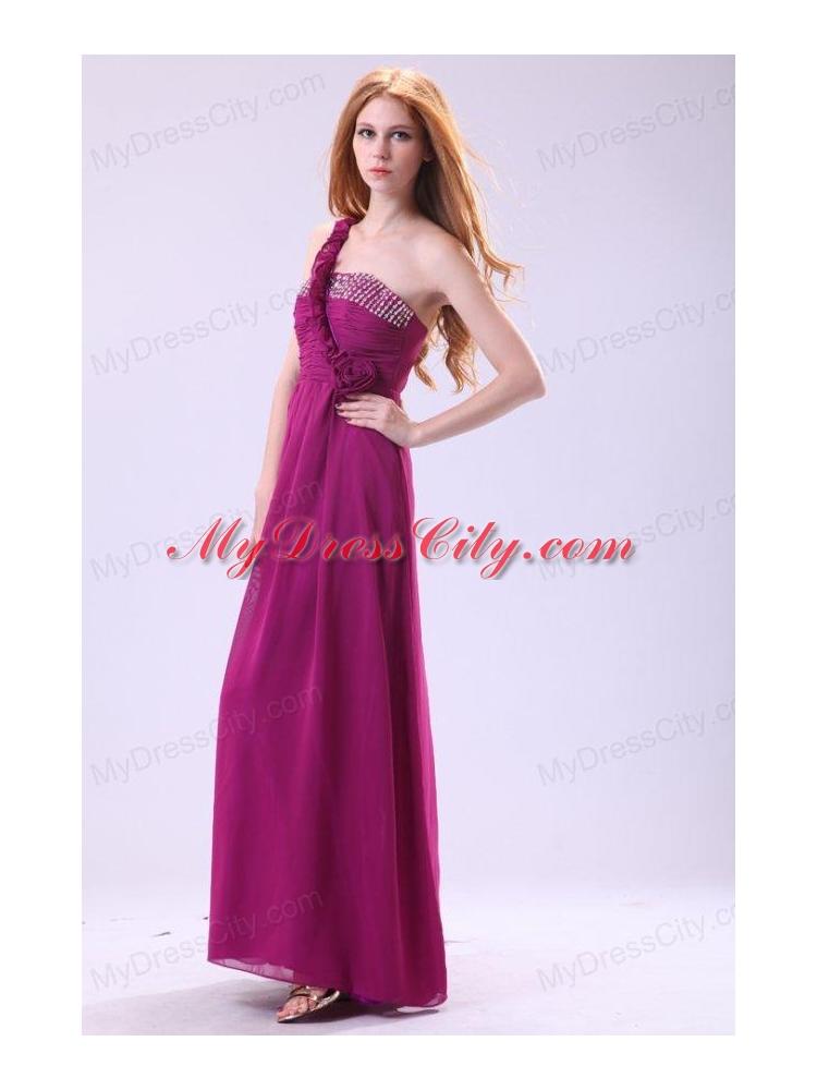Empire One Shoulder Ankle-length Chiffon Purple Beading Prom Dress