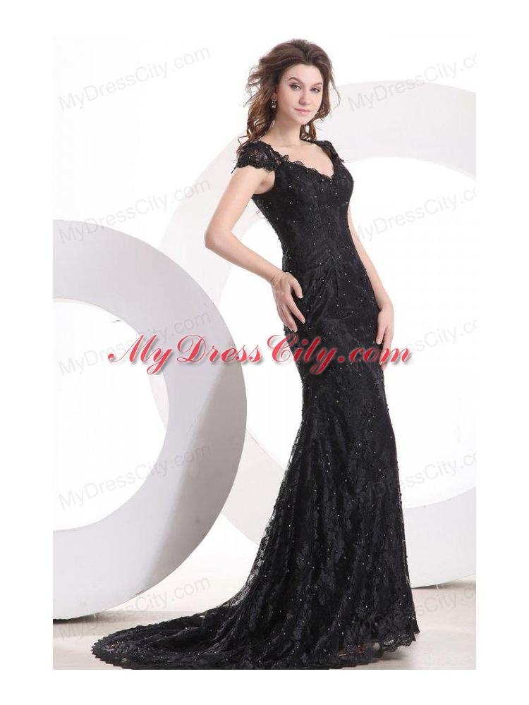 Lace Black Column V Neck Brush Train Prom Dress with Zipper Up ...