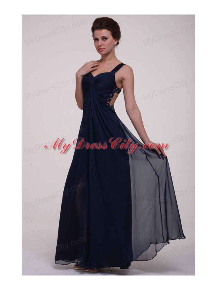 Navy Blue Empire Straps Prom Dress with Beading and ...