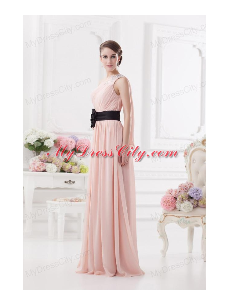 Baby Pink Empire e Shoulder Prom Dress with Ruching and