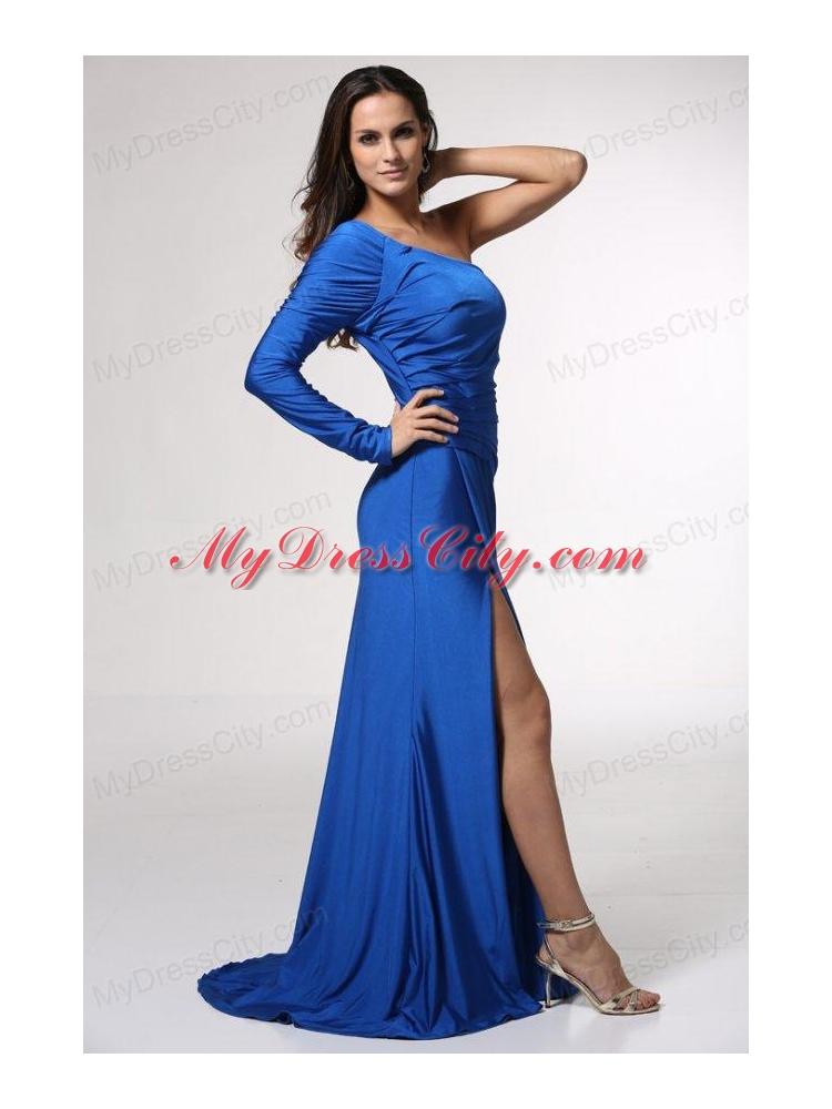 One Shoulder Prom Dresses Blue