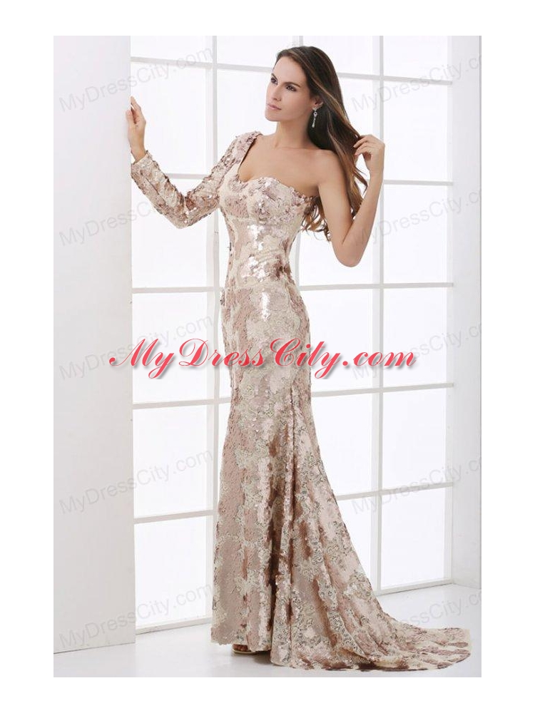 Champagne One Shoulder Lace Long Sleeve Prom Dress with Sequins ...