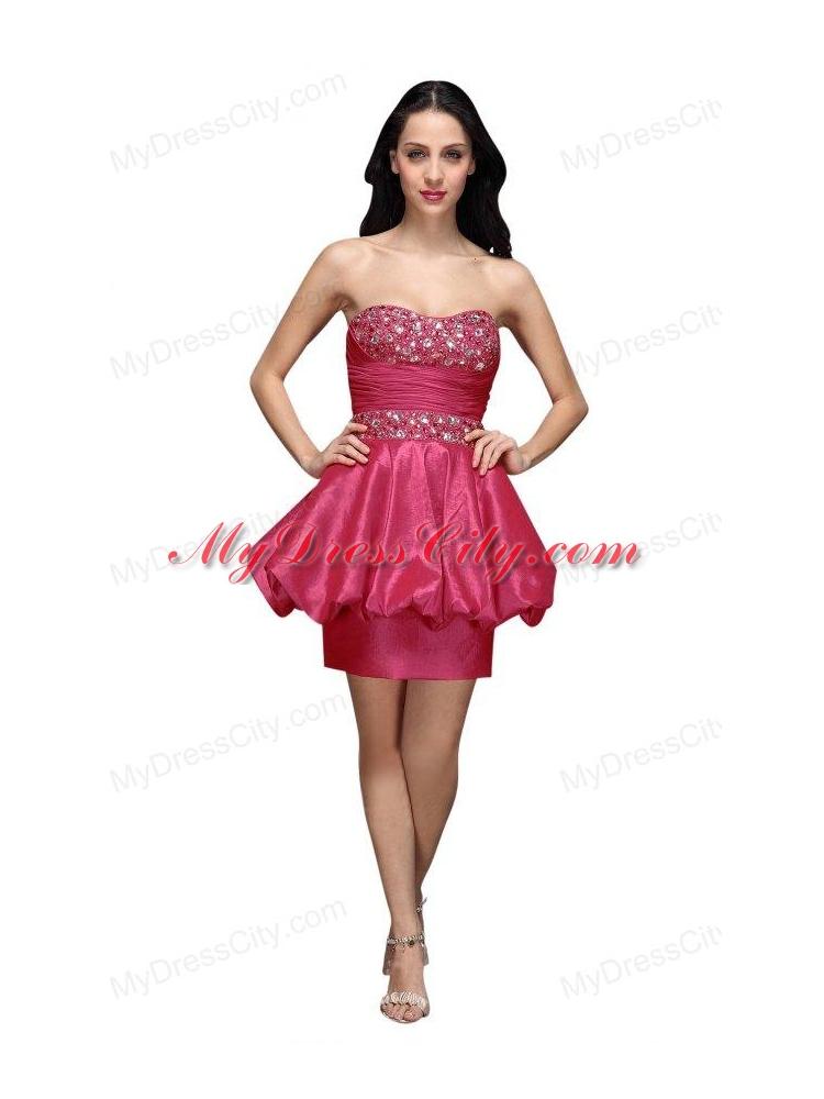 Column Hot Pink Strapless Beading Mini-length Prom Dress ...