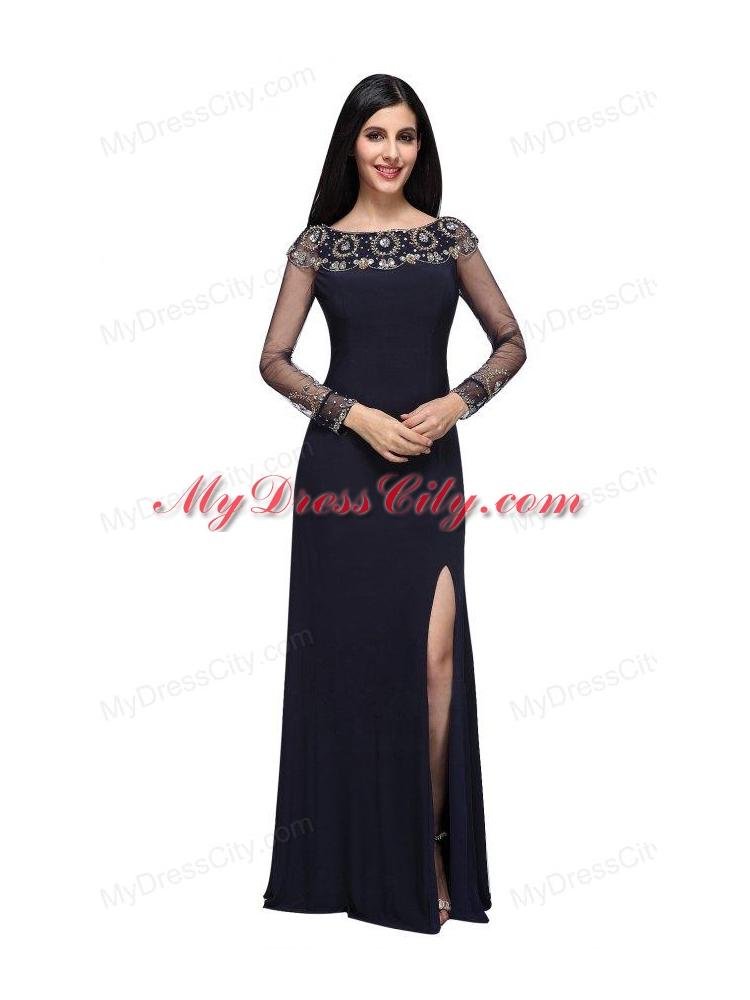 Column Scoop Navy Blue Long Sleeves High Slit Prom Dress ...