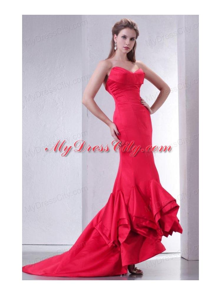 Red Ruffle Mermaid Dress