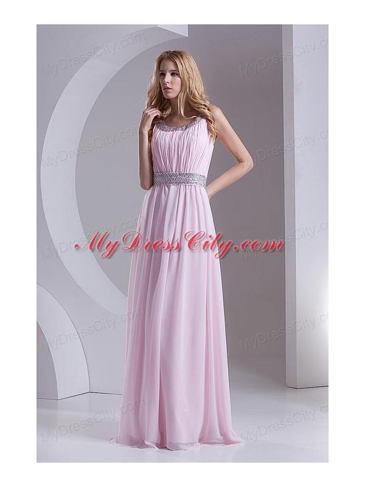 Empire Scoop Chiffon Beading Ruching Baby Pink Prom Dress