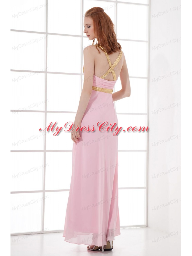 Empire Straps Baby Pink Prom Dress with Beading and