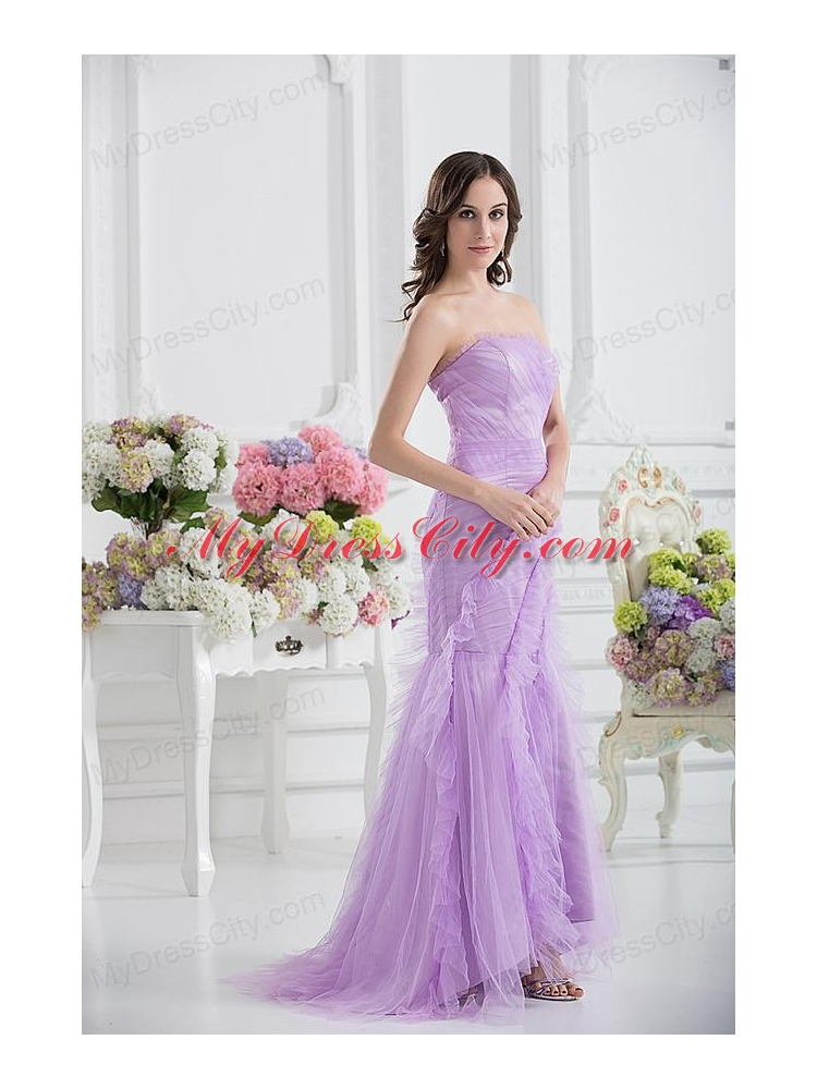 Mermaid Strapless Prom Dress in Lavender with Ruffles - MyDressCity.com
