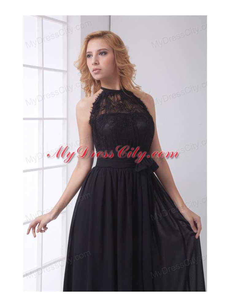 ... Simple Empire Halter Lace Chiffon Floor Length Black Prom Dress ...