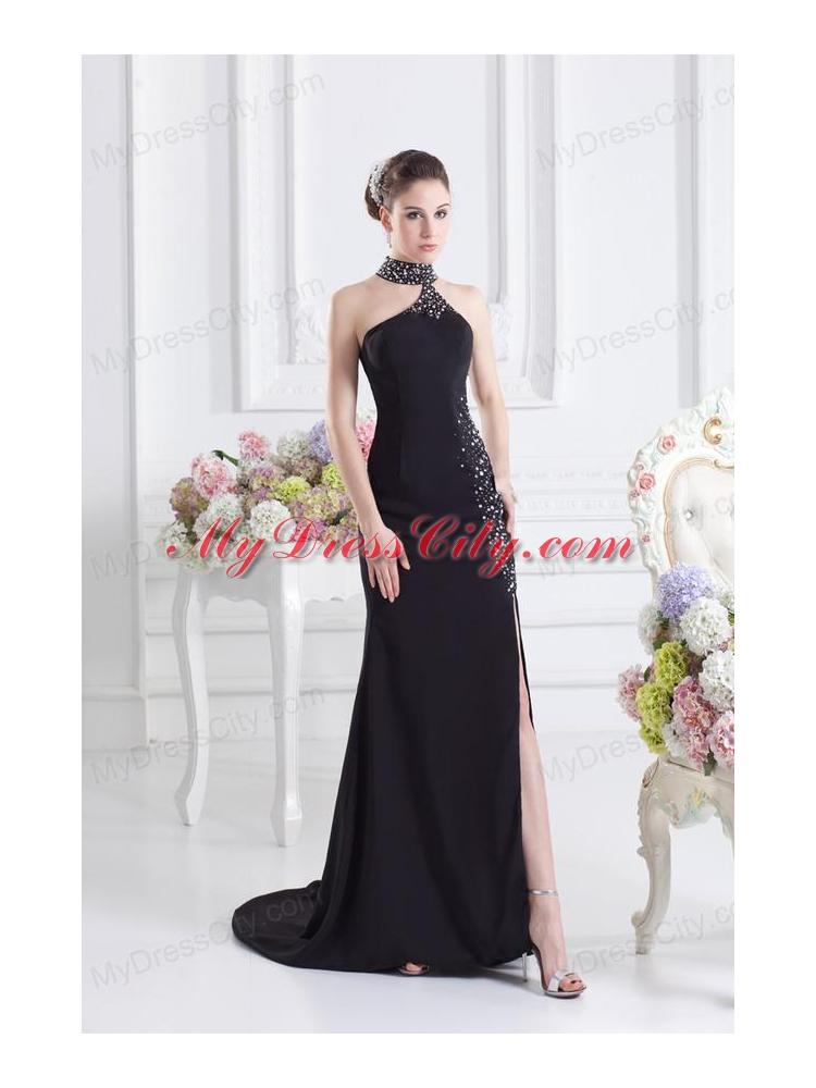 2014 Black Halter Top Empire Prom Dress with Beading - MyDressCity.com