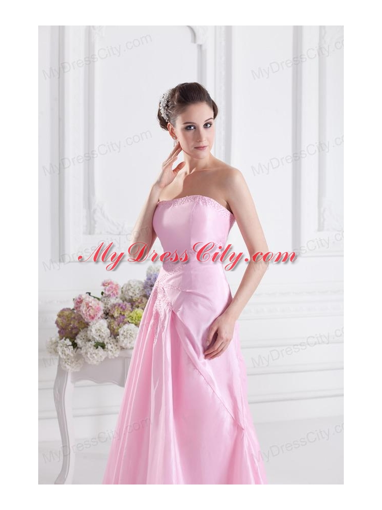 Baby Pink A line Court Train Strapless Ruching Prom Dress