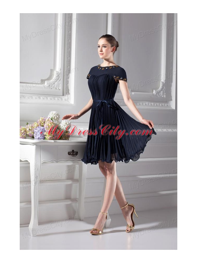 ALine Beading Short Sleeves Floor Length Prom Dress