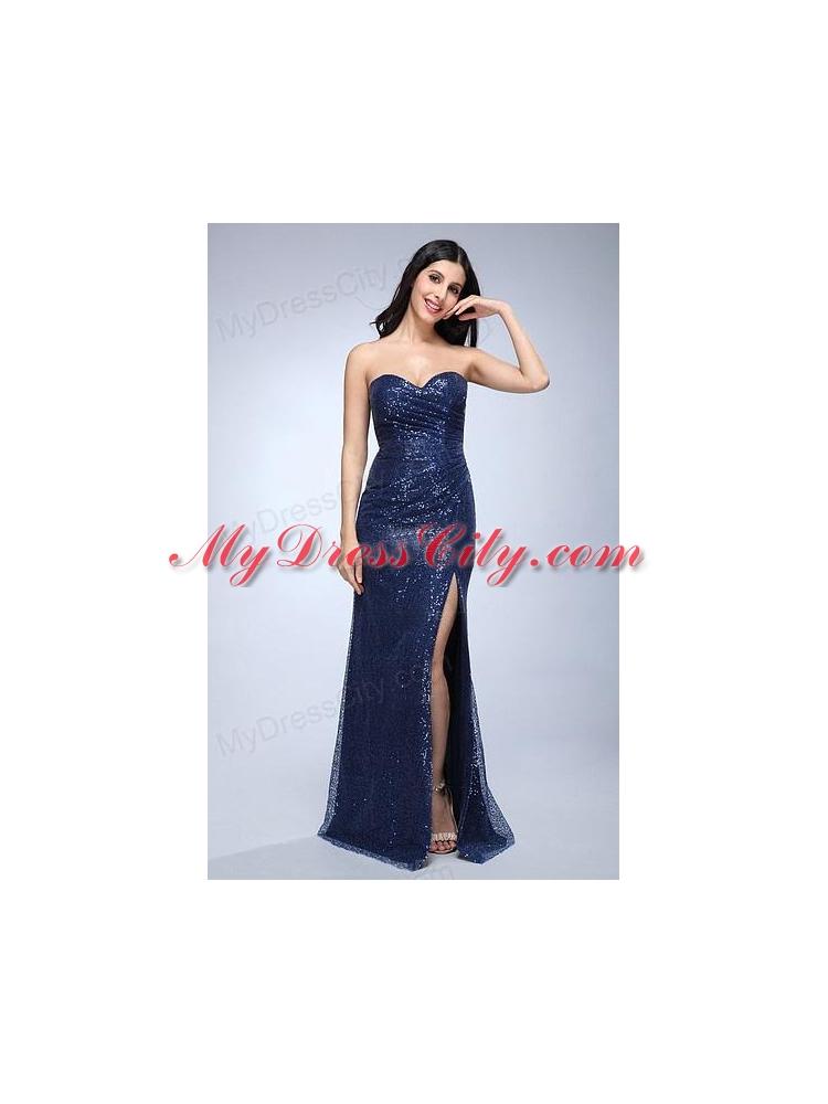 Floor Length Navy Blue Dress