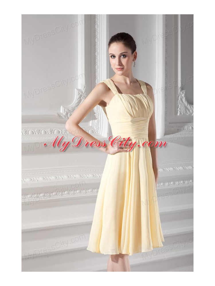 Light yellow short prom dresses