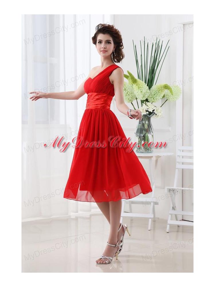 Empire One Shoulder Belt Knee-length Red Prom Dress - MyDressCity.com