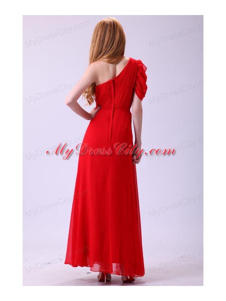 short red chiffon one shoulder dress