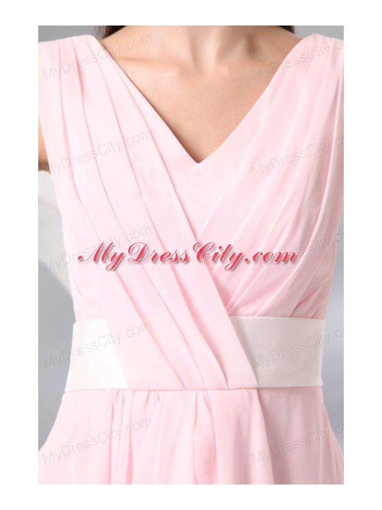 Column Baby Pink V neck Chiffon Short Prom Cocktail Dress