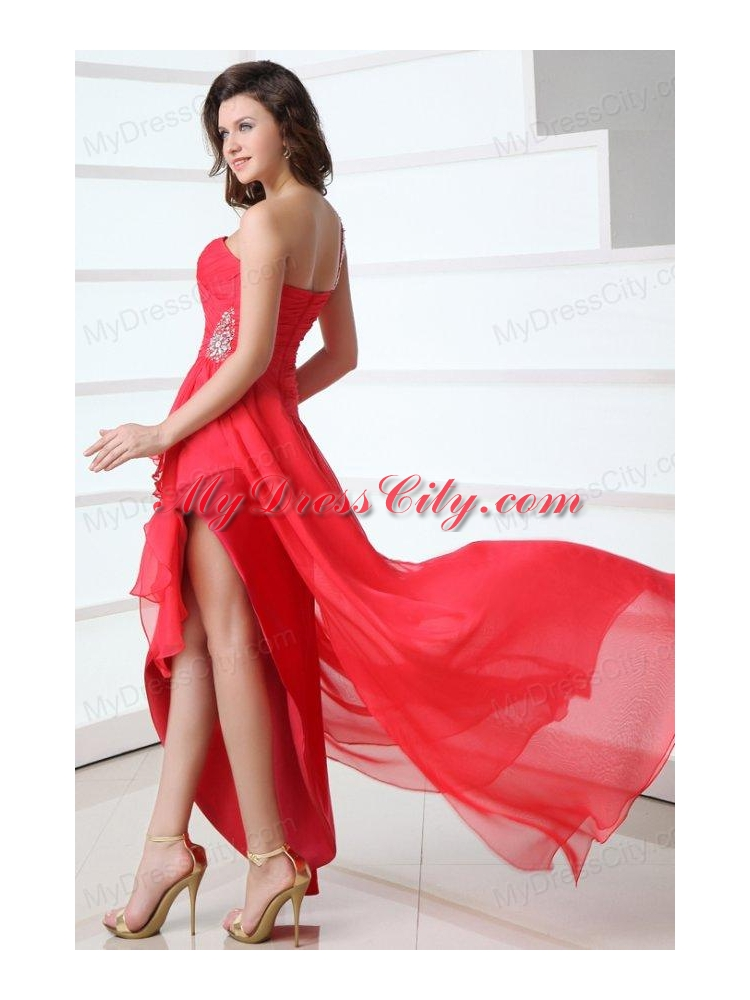 Red Column Chiffon One Shoulder High-low Beading Chiffon Prom Dress