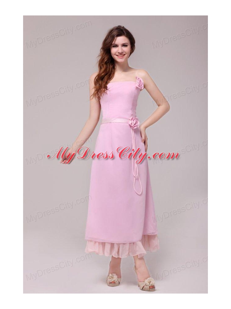 Strapless Baby Pink Hand Made Flowers Tea length Prom