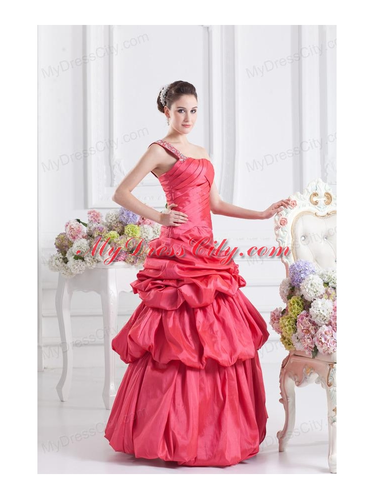 Cheap Coral Red One Shoulder Beading Ball Gown Quinceanera