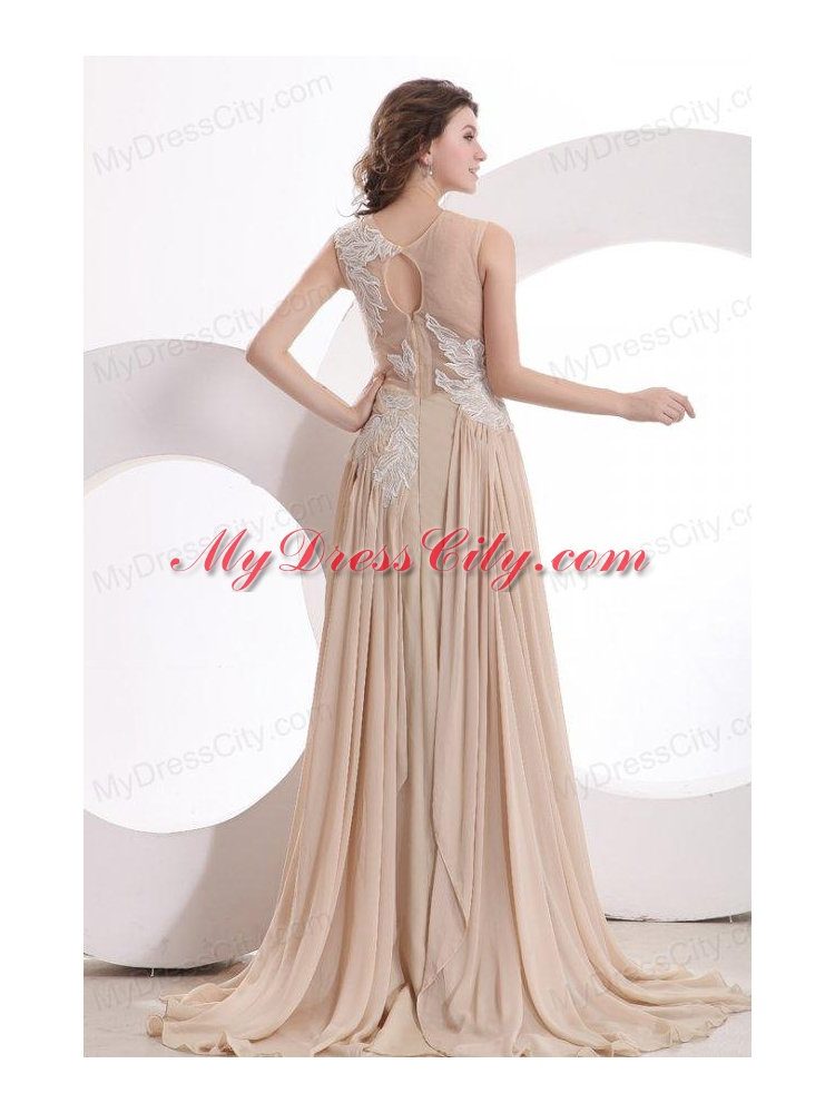 A line champagne scoop appliques ruching wedding dress for A line wedding dress with ruching