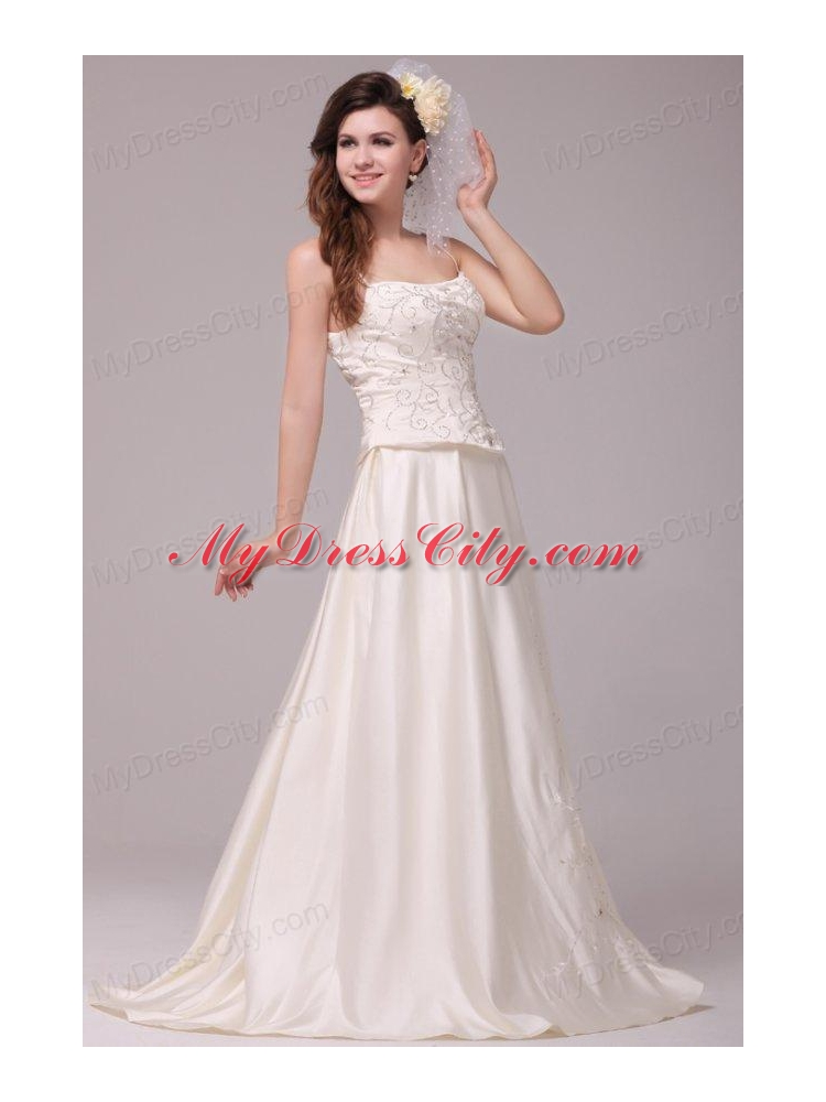 A line straps embroidery taffeta wedding dress with straps for A line taffeta wedding dress