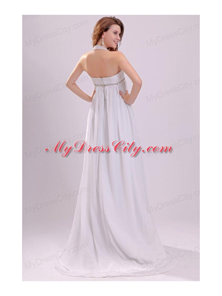 Halter top neck chiffon empire beading wedding dress with for Wedding dress halter top