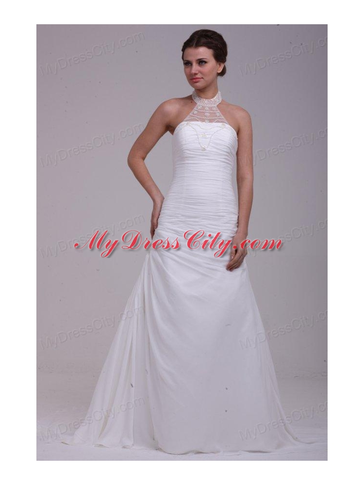 A line halter ruching and appliques chiffon wedding dress for A line wedding dress with ruching