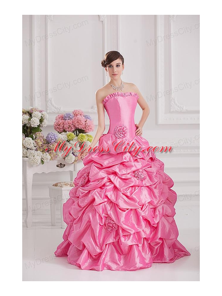 Ball Gown Strapless Pick Ups Rose Pink Quinceanera Dress