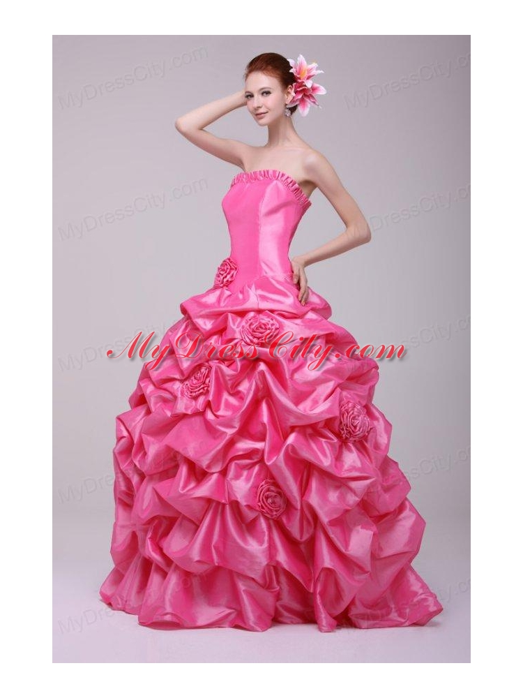 Strapless rose pink quinceanera dresses
