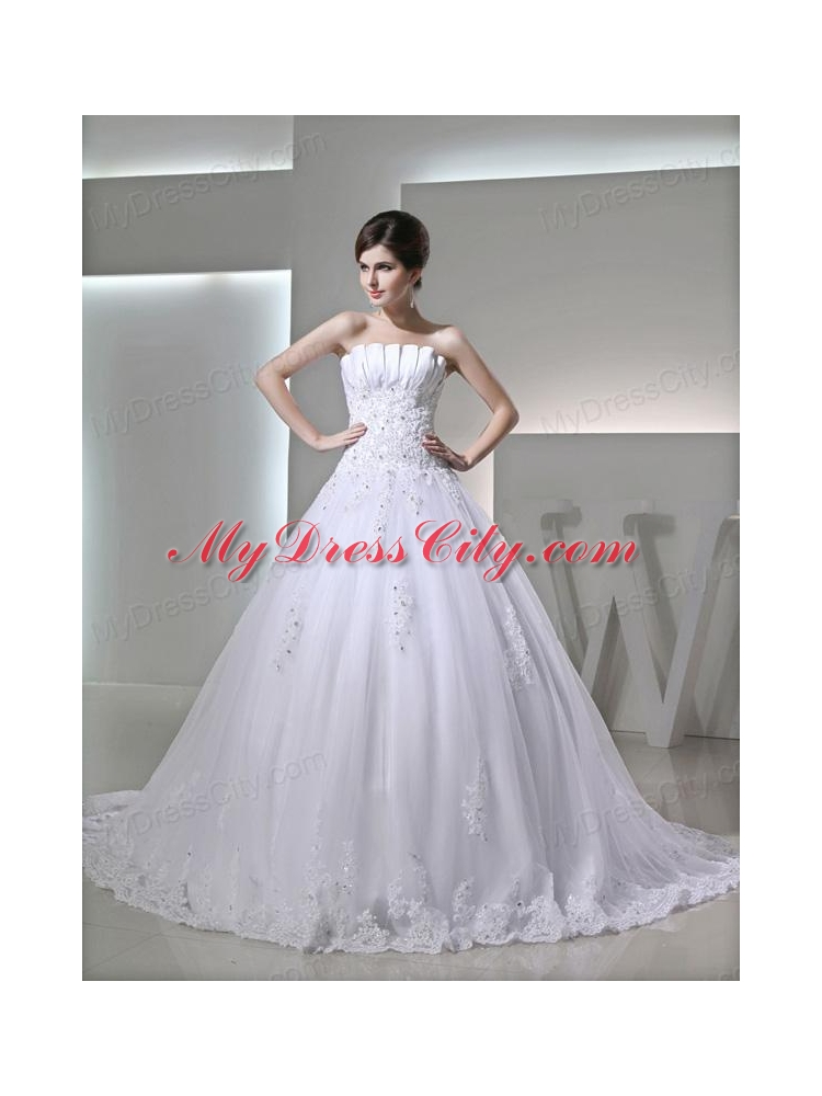 Beautiful puffy appliques ruching wedding dress with Beautiful puffy wedding dresses