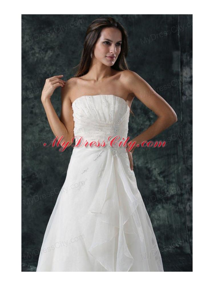 Elegant a line ruching organza wedding dress with court for A line wedding dress with ruching