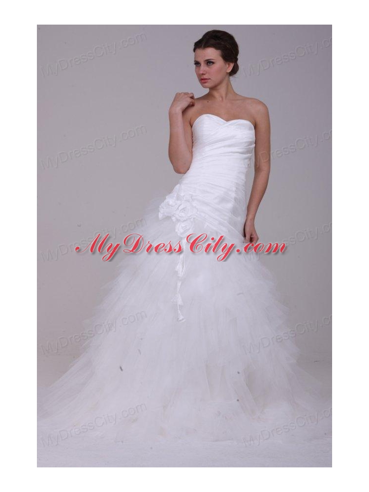 A line strapless ruching tulle wedding dress with brush for A line wedding dress with ruching