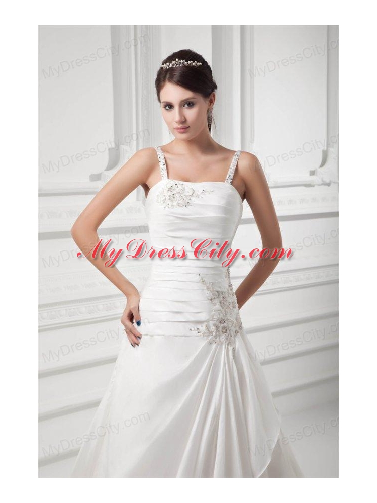 A line straps appliques ruching satin chapel train wedding for A line wedding dress with ruching