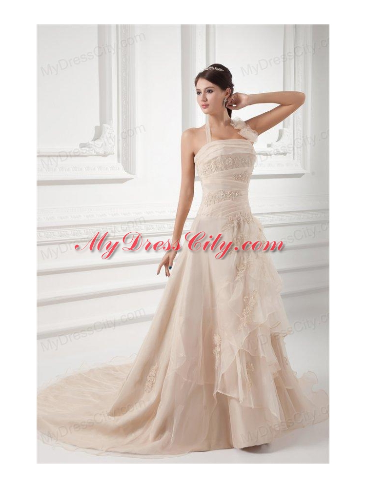 Champagne a line halter top wedding dress with embroidery for Wedding dress halter top