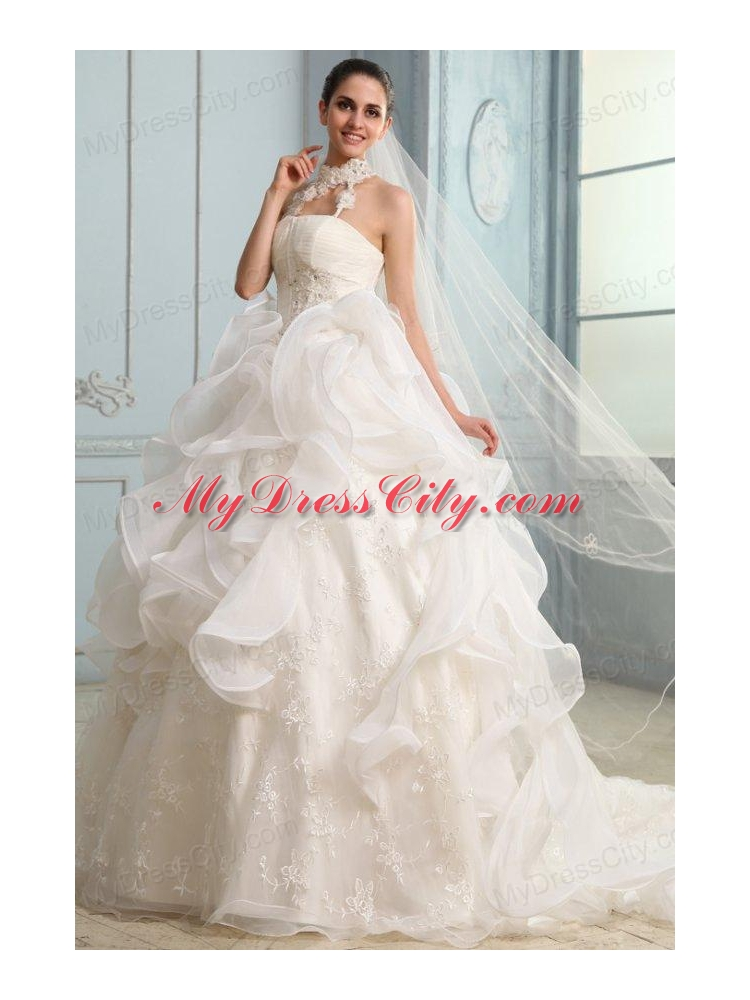 Halter Top Neck Organza Ball Gown Wedding Dress with Appliques 232.58