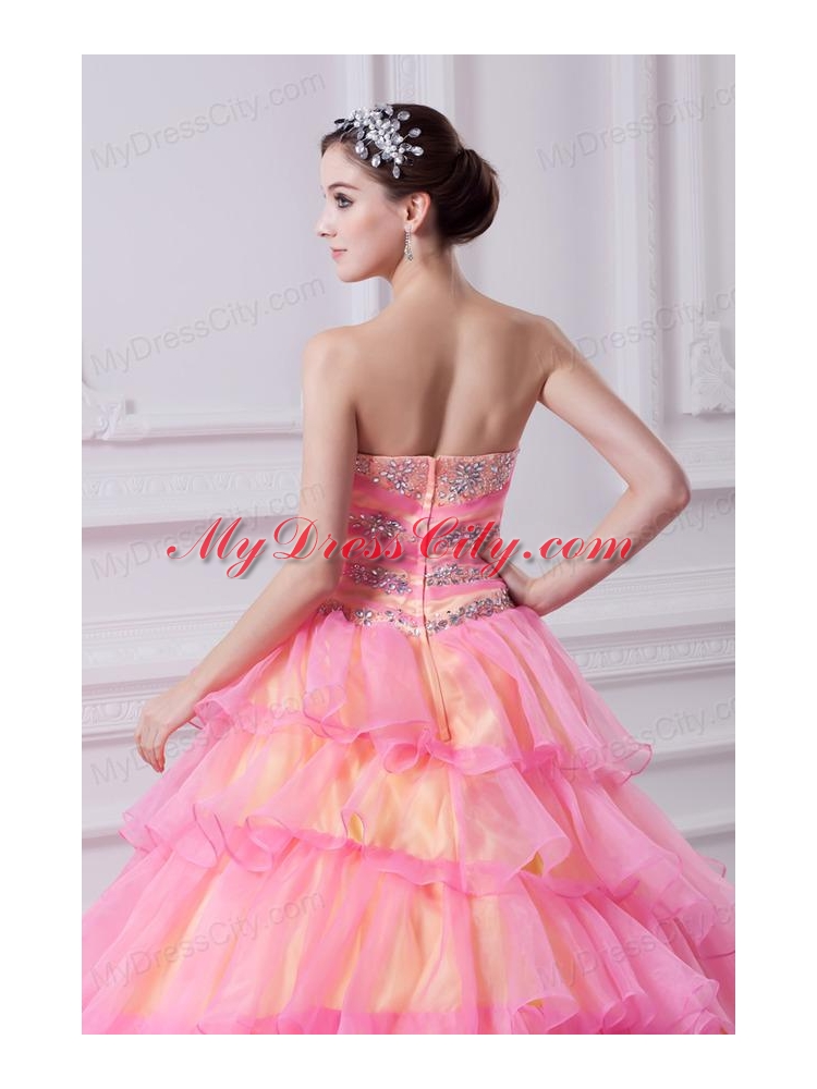 Pretty Ball Gown Strapless Beading and Appliques Hot Pink ...