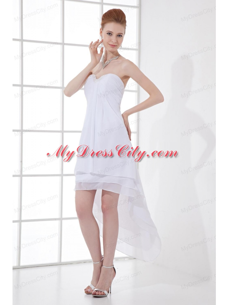 2014 cheap a line high low ruching organza strapless for High low wedding dresses cheap