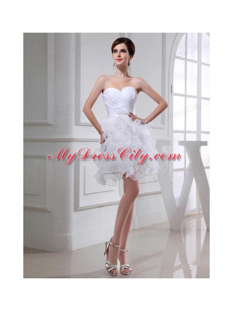 A-line Sweetheart Organza Ruching Ruffles White Short Wedding Dress
