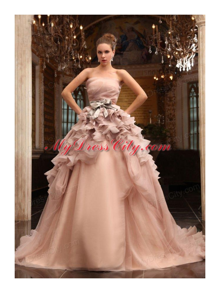 Ball gown strapless champagne ruffles organza wedding for Strapless wedding dress with ruffles