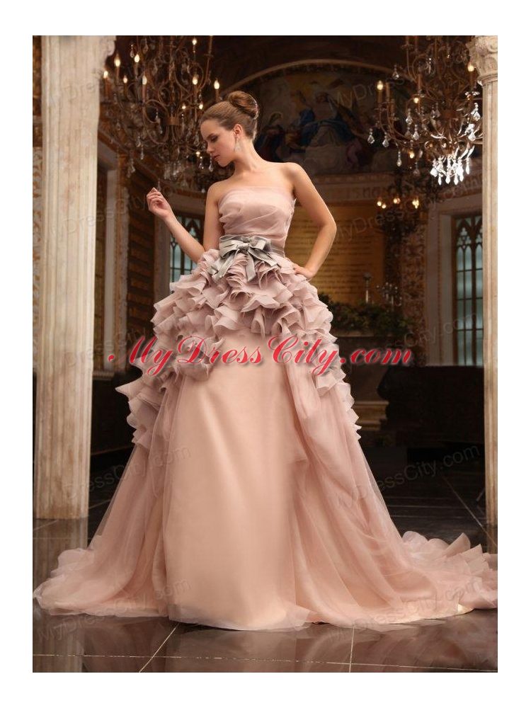 Ball gown strapless champagne ruffles organza wedding for Champagne ball gown wedding dresses