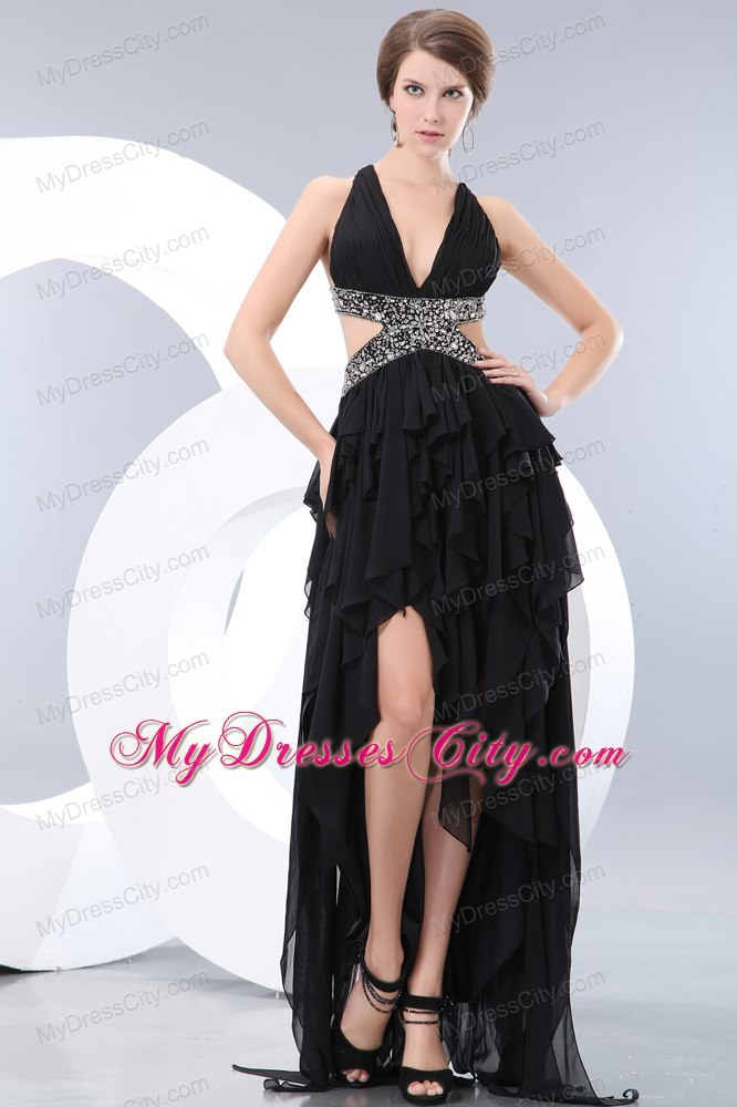 Black V-neck High-low Evening Dress with Side Cut Out Backless Beading