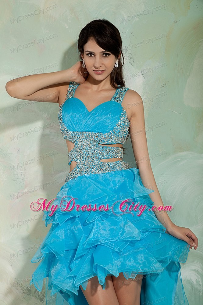 Sky Blue A Line Beading High Low Evening Dress With Side