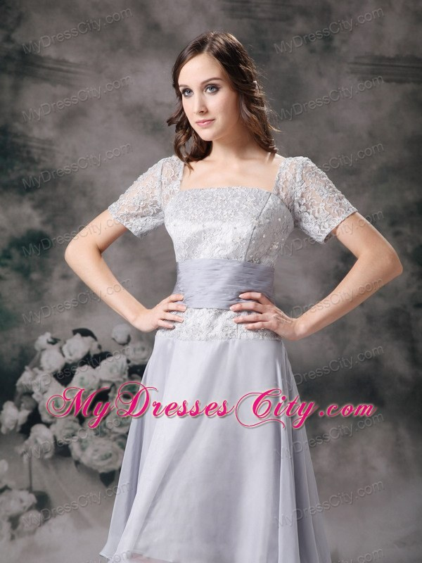 Lilac Square Long Beading Mother Of The Bride Dress With