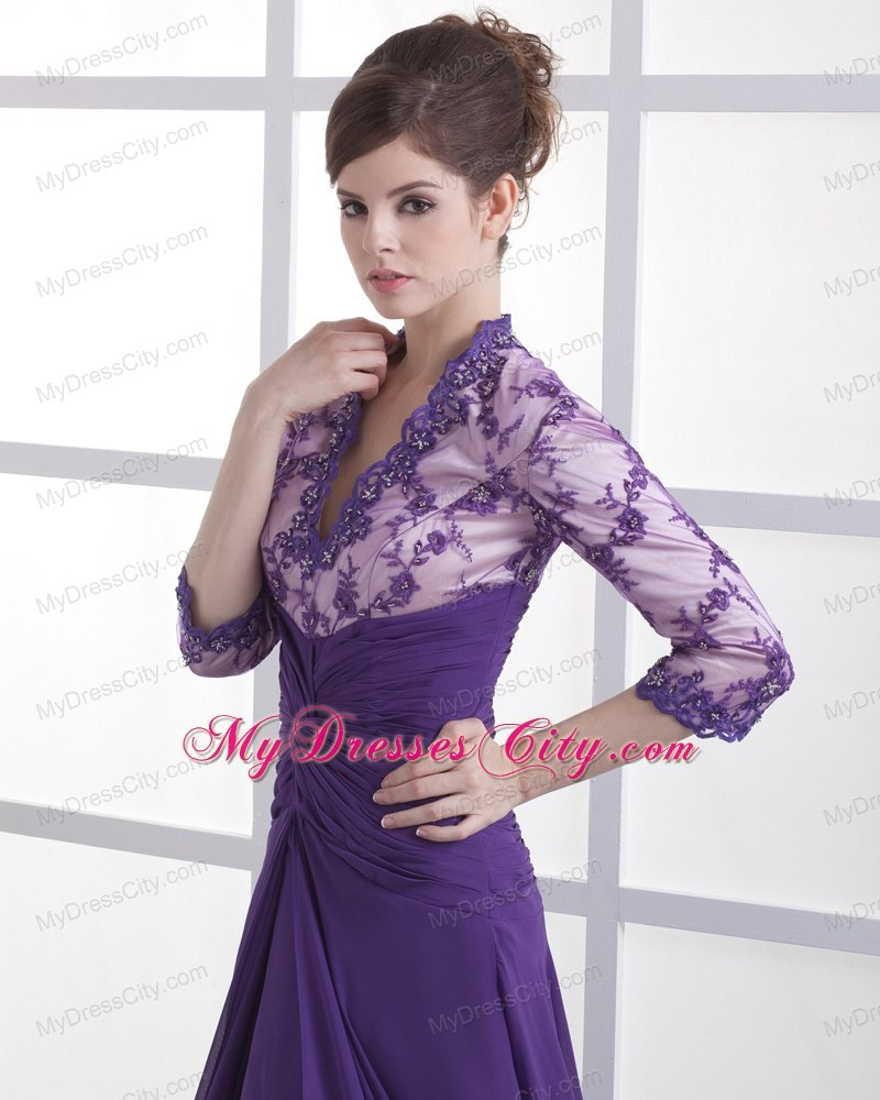 3 4 Sleeves Lace with Beading V-neck Purple Mother Bride Guests Dress